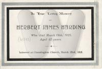 Herbert James Harding - Memorial Card